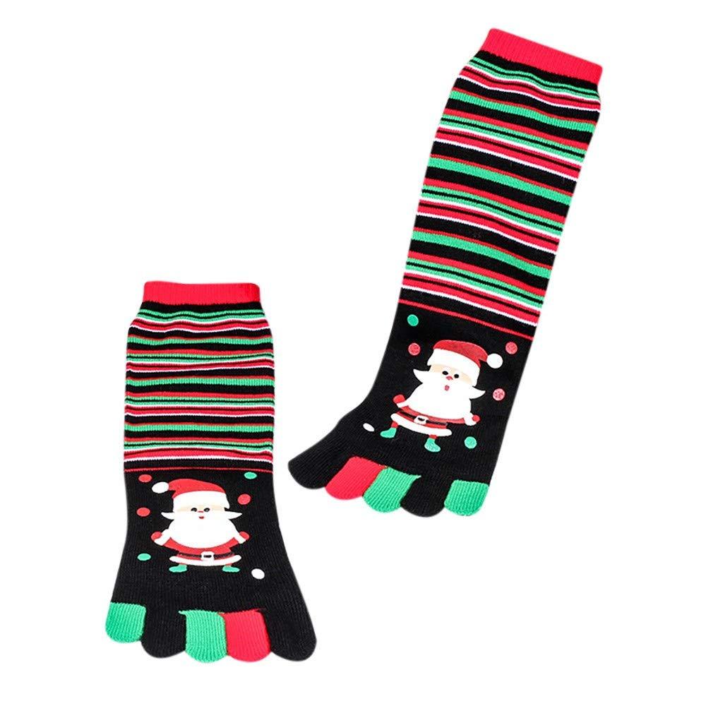 Women's Socks Christmas Socks Holiday Gift Socks Cotton Soft Warm Socks Toe Socks Five Finger Socks Cotton Funny Socks