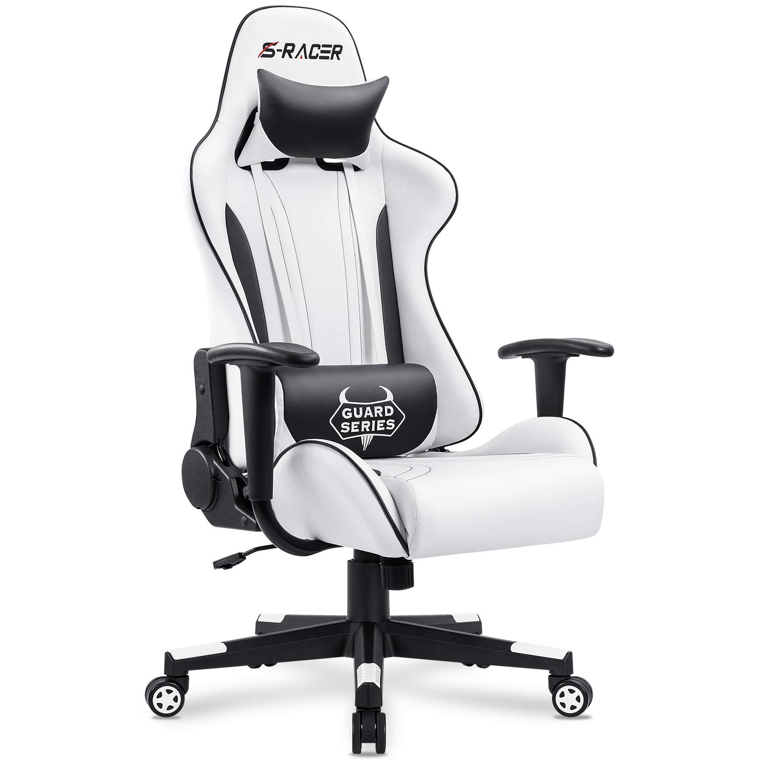 Homall Gaming Chair Office Chair High Back Racing Computer Desk Chair PU Leather Chair Executive and Ergonomic Swivel Chair with Headrest and Lumbar Support (White) by Homall