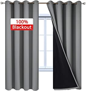 "Yakamok 100% Blackout Curtains 84 Inches Long, 2 Thick Layers Heat and Full Light Blocking Soft Thermal Insulated Drapes for Bedroom(52"" Wide Each Panel, Grey, 2 Panels)"