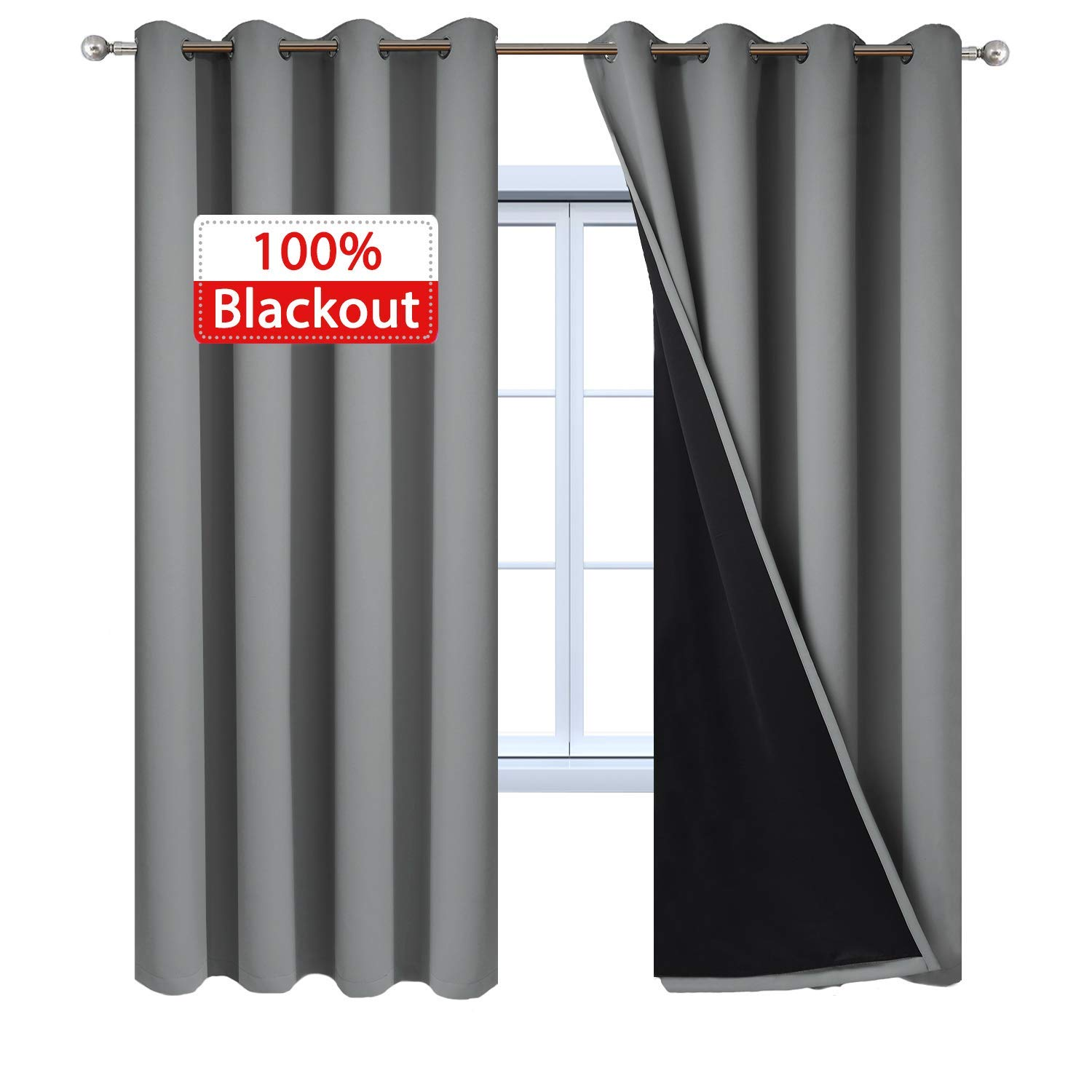Yakamok 100% Blackout Curtains 84 Inches Long, 2 Thick Layers Heat and Full Light Blocking Soft Thermal Insulated Drapes for Bedroom(52'' Wide Each Panel, Grey, 2 Panels) by Yakamok