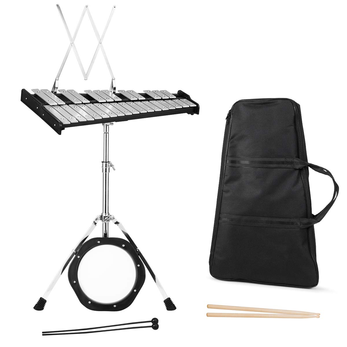 Giantex Percussion Glockenspiel Bell Kit 30 Notes, with Electroplated Adjustable Height Frame, Music Stand, an 8'' Practice Pad, and a Pair of Bell Mallets & Wooden Drumsticks, Carrying Bag