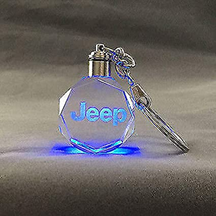 Fitracker Car Logo Keychain Crystal Led Light Changing Key Chain Keyring Accessories with Gift Box