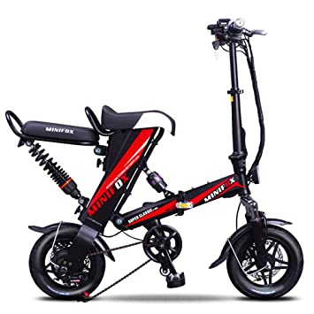 Bicicleta Bicicleta Plegable Eléctrica Doble Absorción De Impactos Frenos De Disco Dobles Asiento Trasero Desmontable Control