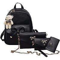 BANQLYN 4PCs Backpack Handbag Shoulder Bags Tote Bag Black (Color May Very)