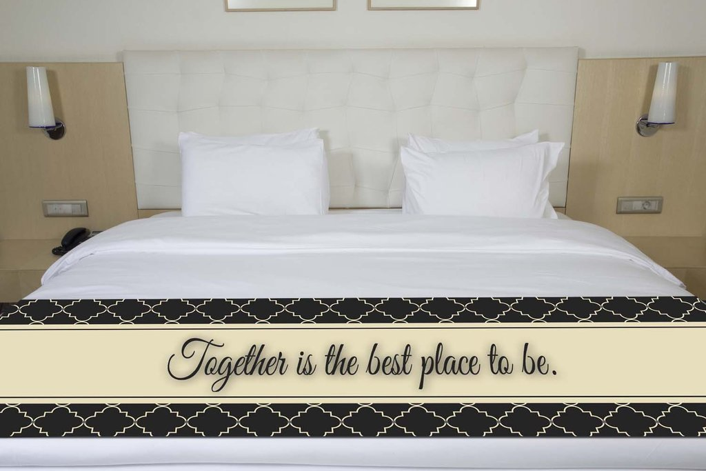 ''Together Is The Best Place To Be'' Black Quatrefoil Bed Runner or Table Runner Scarf Twin/Full/Queen/King Size by Unique Textile Printing