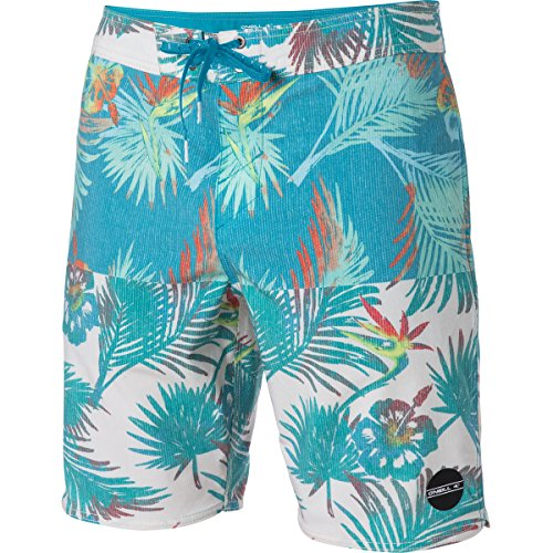 Oneill Tree - O'Neill Men's 19 Inch Outseam Hyperfreak Stretch Swim Boardshort, Teal/Nectar, 34