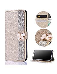 Stysen Galaxy Note 8 Wallet Case,Galaxy Note 8 Glitter Flip Case,3D DIY Handmade Shiny Bling Sparkle Diamond Rhinestone Pattern Gold Pu Leather Soft Inner Folio Magnetic Closure Bookstyle Card Slots Pouch with Strass Butterfly Bowknot Buckle and Stand Function Luxury Fashinable Elegant Protective Wallet Case Cover for Samsung Galaxy Note 8-Diamond,Gold