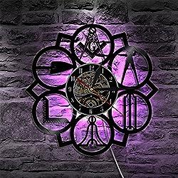 KingLive 12inch Masonic Free Mason Logo Led Vinyl Wall Clock Decorative Hanging Modern Home Decor Vintage Gift Silhouette LP Backlight Silent Non Ticking Wall Clocks Large Decorative - Quality Quartz