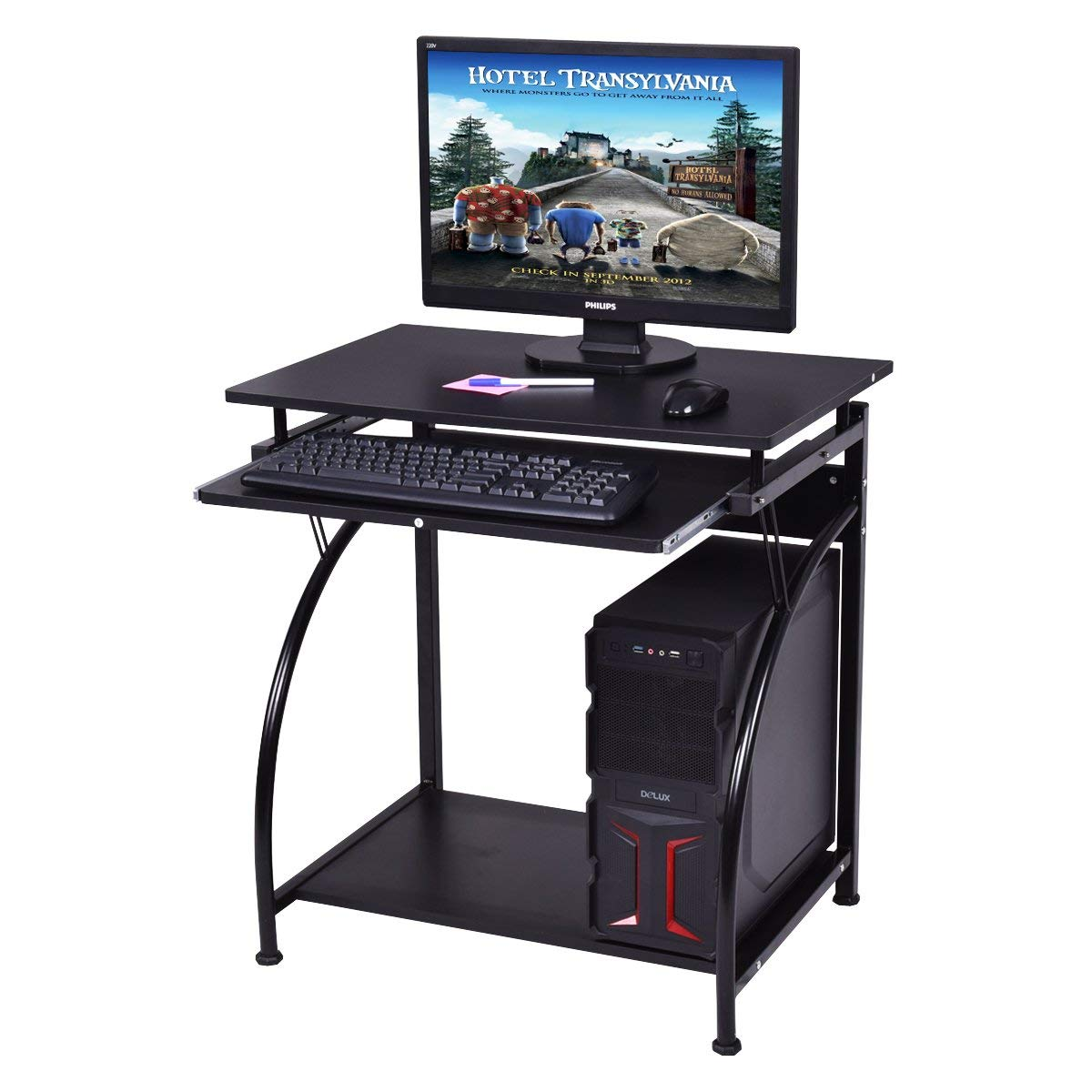 Tangkula Computer Desk, Home Office PC Laptop Workstation with Pull Out Keyboard Tray, Study Table Desk for Small Place