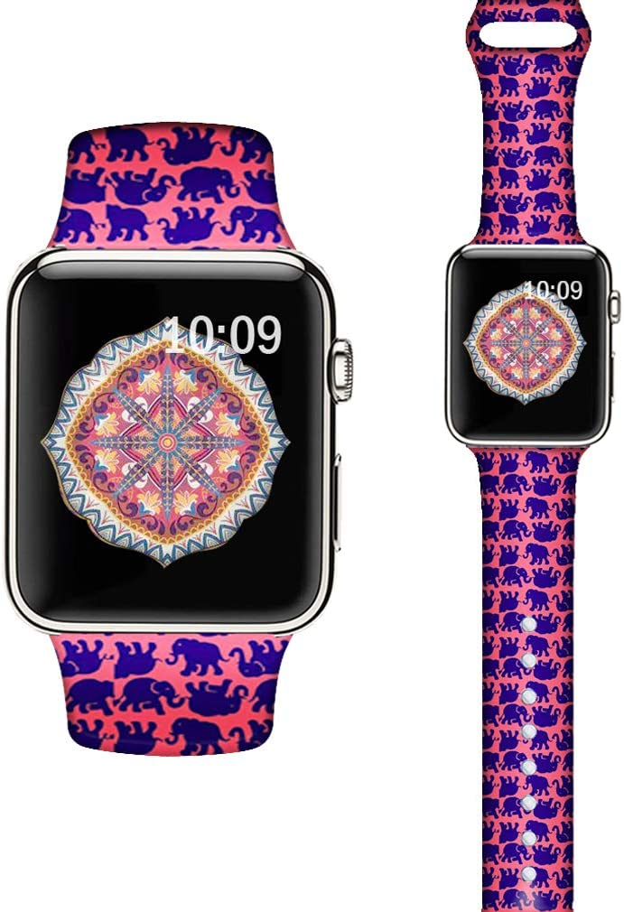 LAACO Silicone Sport Bands Compatible With Apple Watch 40mm for Women, Floral Sport Band, Cartoon Elephant Fadeless Pattern Printed Replacement Strap Bands Compatible with iWatch 38mm Series 5 4 3 2 1