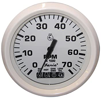 61pQ0xwOEsL._SY355_ amazon com dress white omc system check tachometer automotive Auto Meter Tach Wiring Diagram Wires at gsmx.co