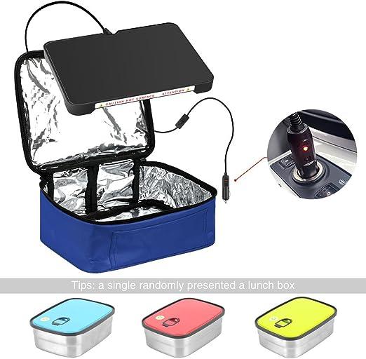 Bolsa de almuerzo de calefacci/ón personal para recalentar comidas en el trabajo sin un microondas de oficina Black Calentador de horno y almuerzo port/átil para autom/óvil de 12 V