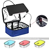 Portable Oven 12V Personal Crockpot Slow Cooker Microwave with Stainless Steel Lunch Containers – Mini Food Warmer Bag for Car, Business Travel, Camping, Truckers, Office DeskDARK Blue