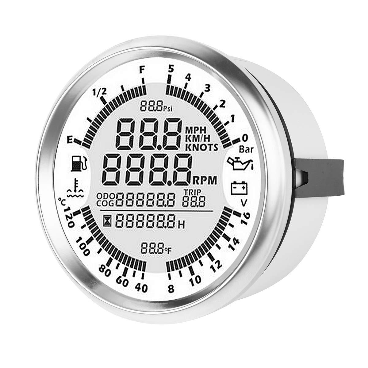 NeDonald 85mm GPS Speedometer Oil Pressure Fuel Gauge Tachometer with Antenna by NeDonald (Image #2)