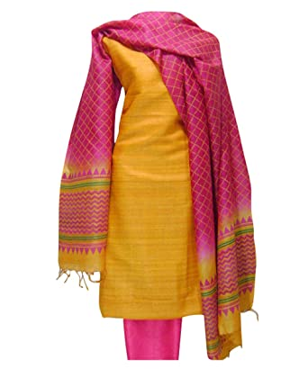 5d23e8ba4d Dee's Alley Women's Printed Tussar Silk Dress Material(Block Printed_Yellow)