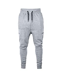 Tomatoa Mens Gym Jogger Pants Fashion Casual Autumn Cotton Patchwork Zipper Sports Run Gym Jogger Pants Trousers Gray