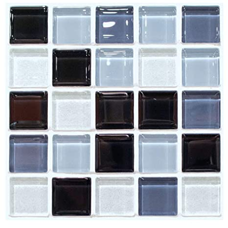 Self Adhesive Decorative Glass Mosaic 3d Print Tile Stickers Peel And Stick Wall Tile Backsplash For Kitchen Bathroom Living Room 6 Tiles