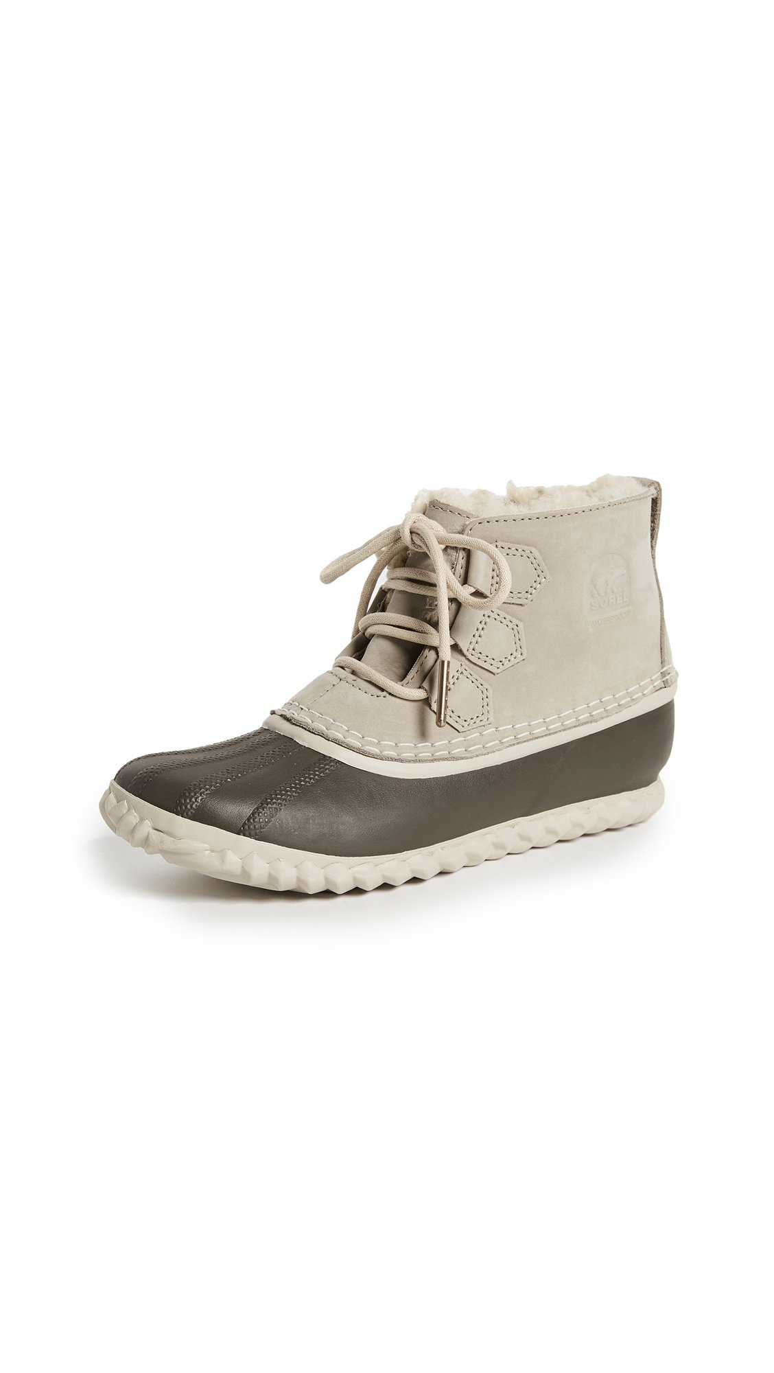 Sorel Women's Out 'N About Shearling Lux Booties, Ancient Fossil/Mud, 9 B(M) US