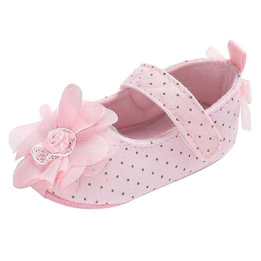 509fbaec746ea LNGRY Shoes,Toddler Kids Baby Girls Chiffon Flower Polka Dot Anti-Slip Soft  Sole Crib Shoes