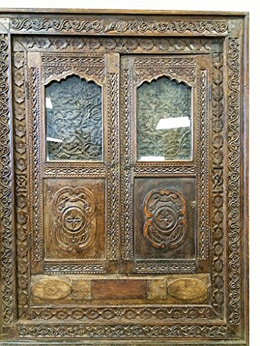 Indian Haveli Antique Mirror Window Jharokha Rustic Teak