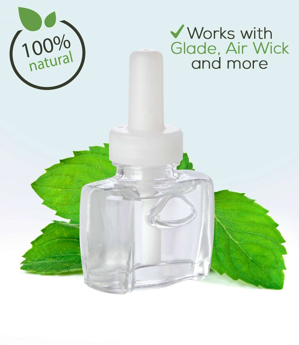 (4 Pack) - 4 100% Natural Fresh Peppermint Plug in refills - fits Glade, Air Wick, renuzit, and many other scented oil warmers Scent Fill