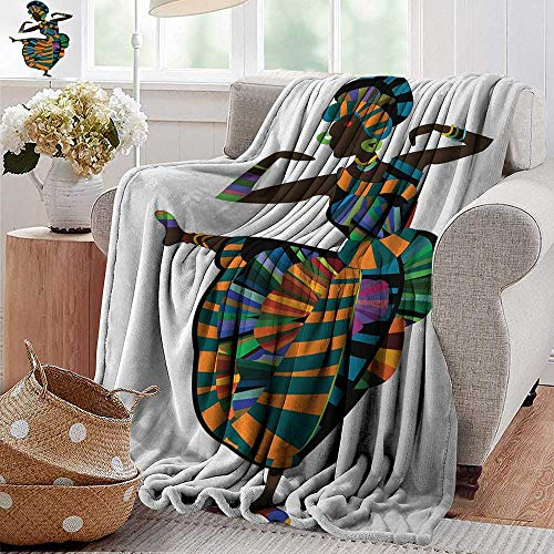 XavieraDoherty Faux Fur Throw Blanket,African Woman,Black Girl in a Traditional Dress Performing an Ethnic Dance Native Zulu,Multicolor,Soft Fabric for Couch Sofa Easy Care 30