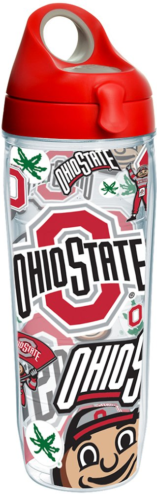 Tervis 1258262 NCAA Ohio State Buckeyes All Over Water Bottle with Lid 24 oz Clear
