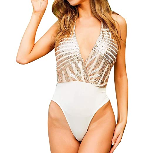 860e134de2a Women One-Piece Sleeveless Deep V Swimsuit European St. Patrick's Day Sexy  Push-