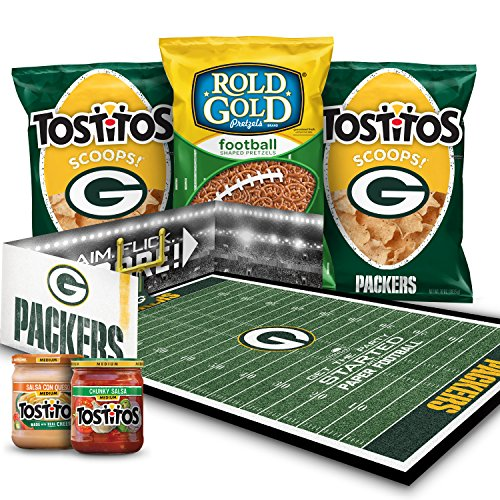 Green Bay Packers NFL Party Box, Tostitos Chips & Dips and Rold Gold Pretzel Snacks