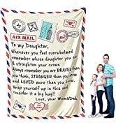 to My Daughter Blanket from Mom, Daughter Blanket, Flannel Throw Blanket for Kids and Adults