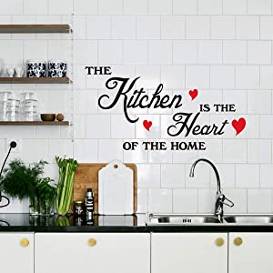 "The Kitchen is The Heart of The Home Red Heart Wall Sticker Art Quote Home Decor(18''x17"")"