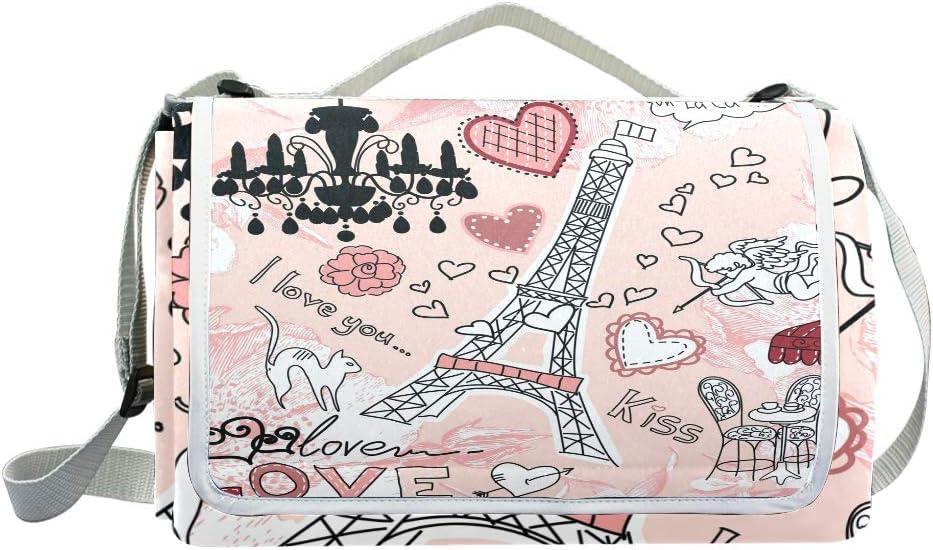 TIZORAX Paris Eiffelturm Angel Cat Love Kiss Picknickdecke Wasserdicht Outdoor Decke faltbar Picknick Handliche Matte Tragetasche f/ür Strand Camping Wandern