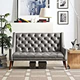 Modern Contemporary Urban Design Living Lounge Room Loveseat Sofa, Grey Gray, Faux Leather