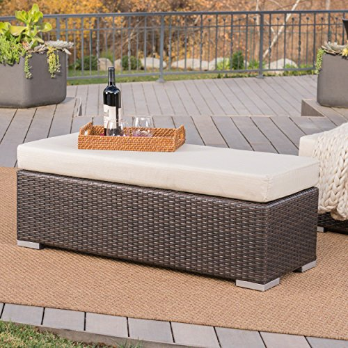 Christopher Knight Home Malibu Outdoor Multibrown Wicker Bench with Beige Water Resistant Cushion