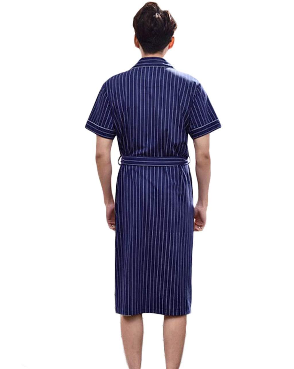 Verano Largo Color : Blue1, Tama/ño : M Pijamas de Gran tama/ño para Bata de ba/ño Bata de ba/ño de algod/ón GKKXUE Camis/ón para Hombres