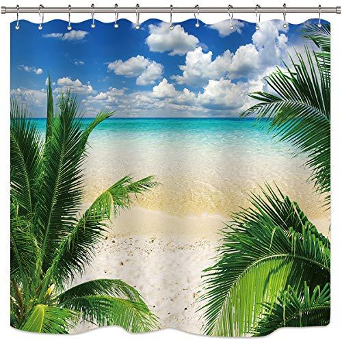 Riyidecor Seaside Beach Shower Curtain Ocean Sea Green Leaves Palm Tree Tropical Coastal Blue Sky Sand Island Teal Decor Fabric Set Polyester Waterproof 72x72 Inch 12-Pack Plastic Hooks