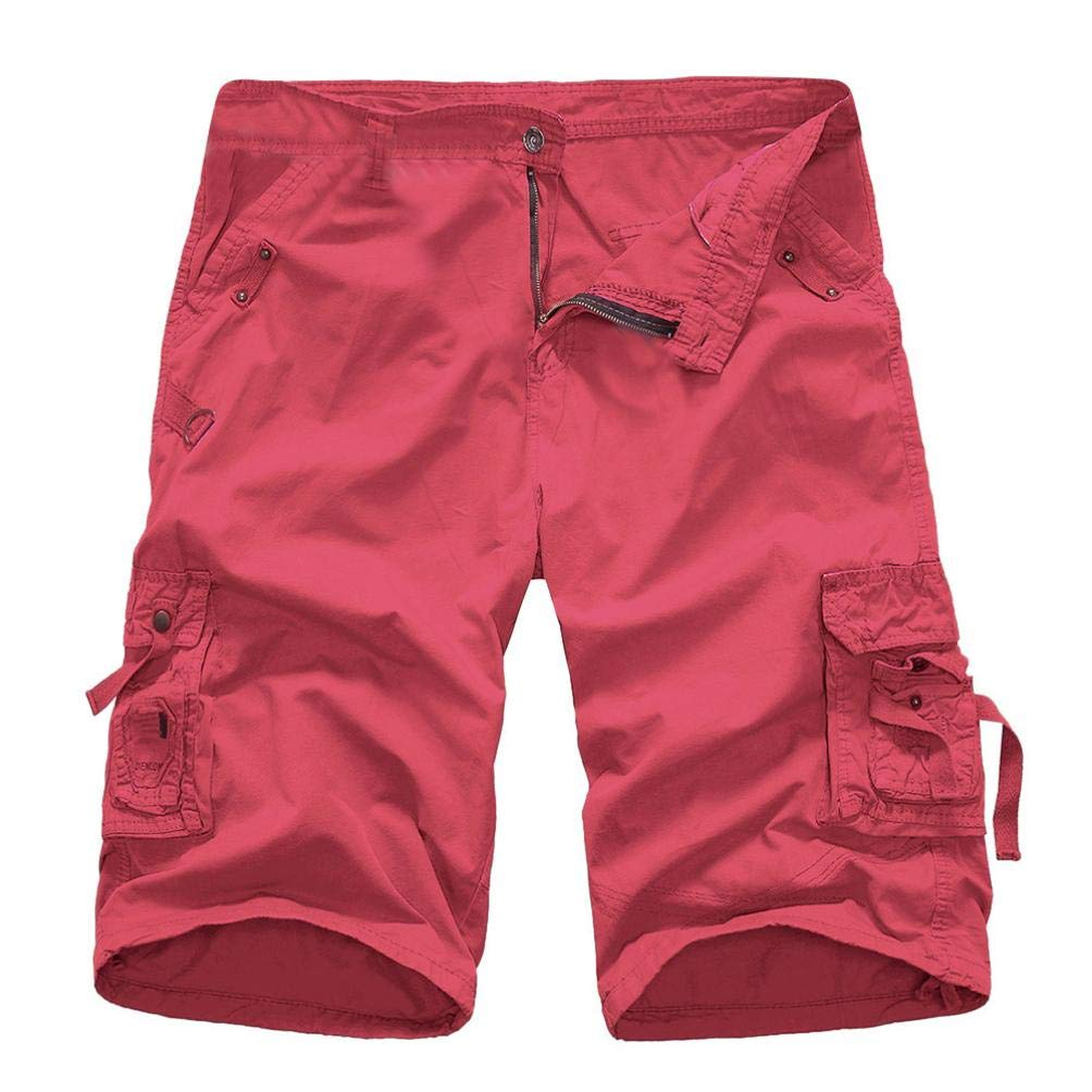 Dacawin Multi-Pockets Casual Cargo Shorts Pants Men Relaxed Fit Pure Color Outdoors Work Beach Trousers
