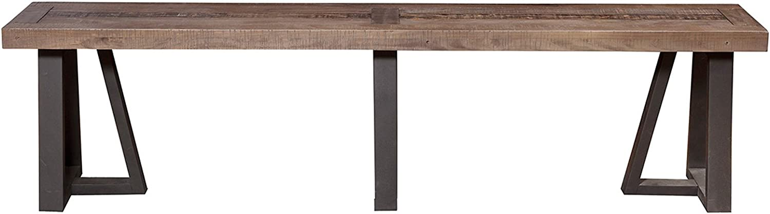 "Alpine Furniture Prairie Bench, 75"" W x 14"" D x 18"" H, Reclaimed Natural and Black Finish"