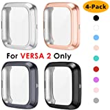 NANW 4-Pack Screen Protector Case Compatible with Fitbit Versa 2, TPU Rugged Bumper Case Cover All-Around Protective Plated Bumper Shell Accessories [Scratch-Proof] for Versa 2 Smartwatch