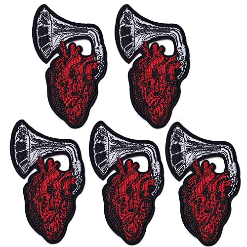 TACVEL X-Ray Human Anatomical Heart and Horn Appliques Embroidered DIY Sew on/Iron on Patches for Jackets, Backpacks, Caps, Jeans to Repair Holes/Logo