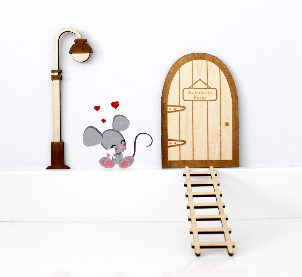 Kit ratoncito Pérez de Vinilo con Puerta, farola y Escalera de Madera para Pintar y Personalizar: Amazon.es: Juguetes y juegos