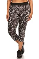 Womens Plus Size Actviewear Capris Leggings Abstract Print With Mesh Side Panels