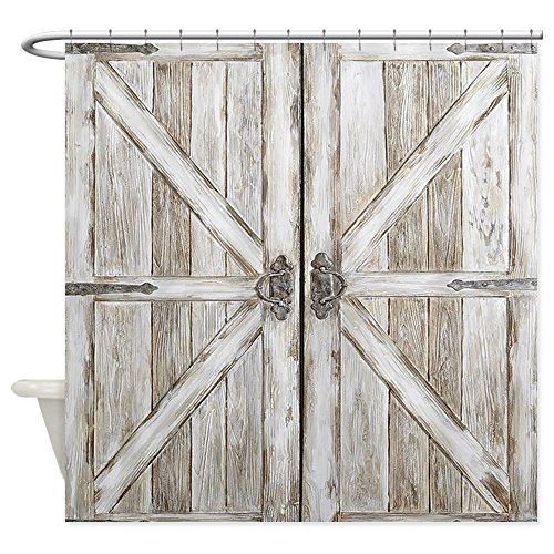 CafePress Distressed Barn Doo Wood Plank Tile Decorative Fabric Shower Curtain (69''x70'') by CafePress (Image #1)