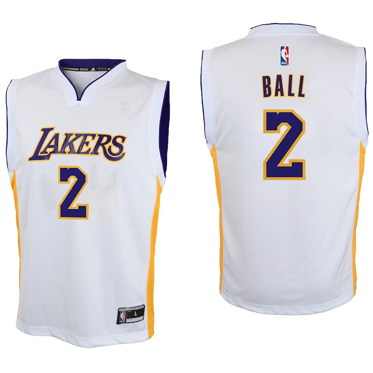 size 40 6fc97 f9389 Outerstuff Lonzo Ball Los Angeles Lakers #2 White Youth Alternate Replica  Jersey