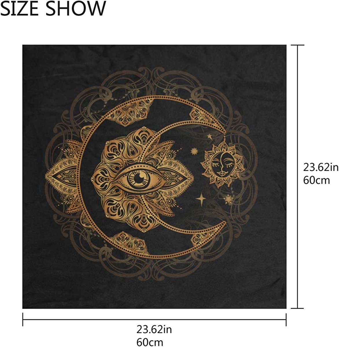 Soft Polyester Silk Womans Head Scarf Fashion Print Golden Crescent And Sun Hair Scarves For Women Headband Scarf Wall Scarf Multiple Ways Of Wearing Daily Decor