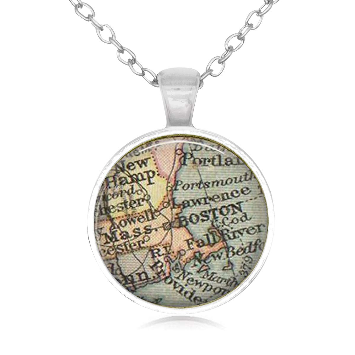 Lightrain Ancient Map Theme Pendant Necklace Vintage Bronze Chain Statement Necklace Handmade Jewelry Gifts