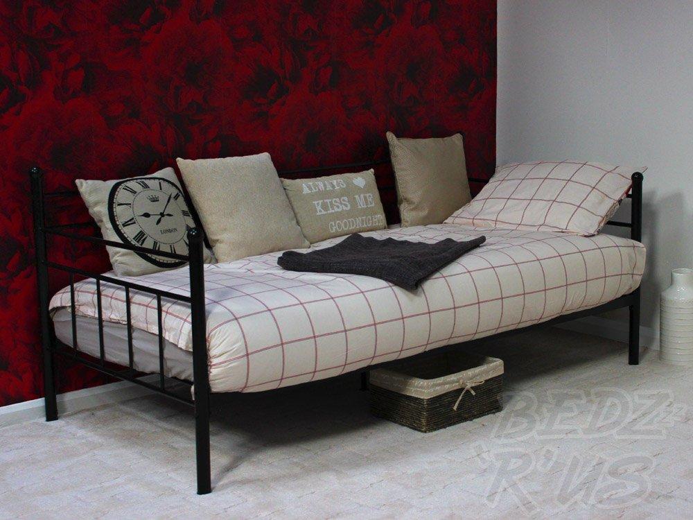 GFW Arizona Day Bed Black 3' Single Bed Frame Black Metal Home Source