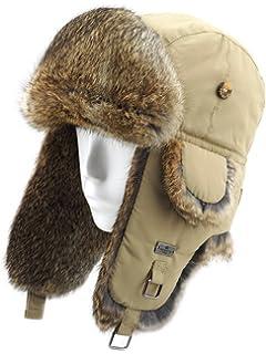 5eef162b8f4 FUR WINTER Taslon Rabbit Fur Aviator Outdoor Trapper Trooper Pilot Ski Hat