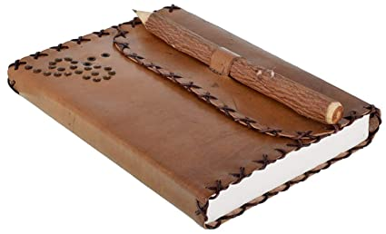 Di-Kraft Handmade Classic Design Leather Notebook Writing Diary For Gift 120 Gsm Brown Diary
