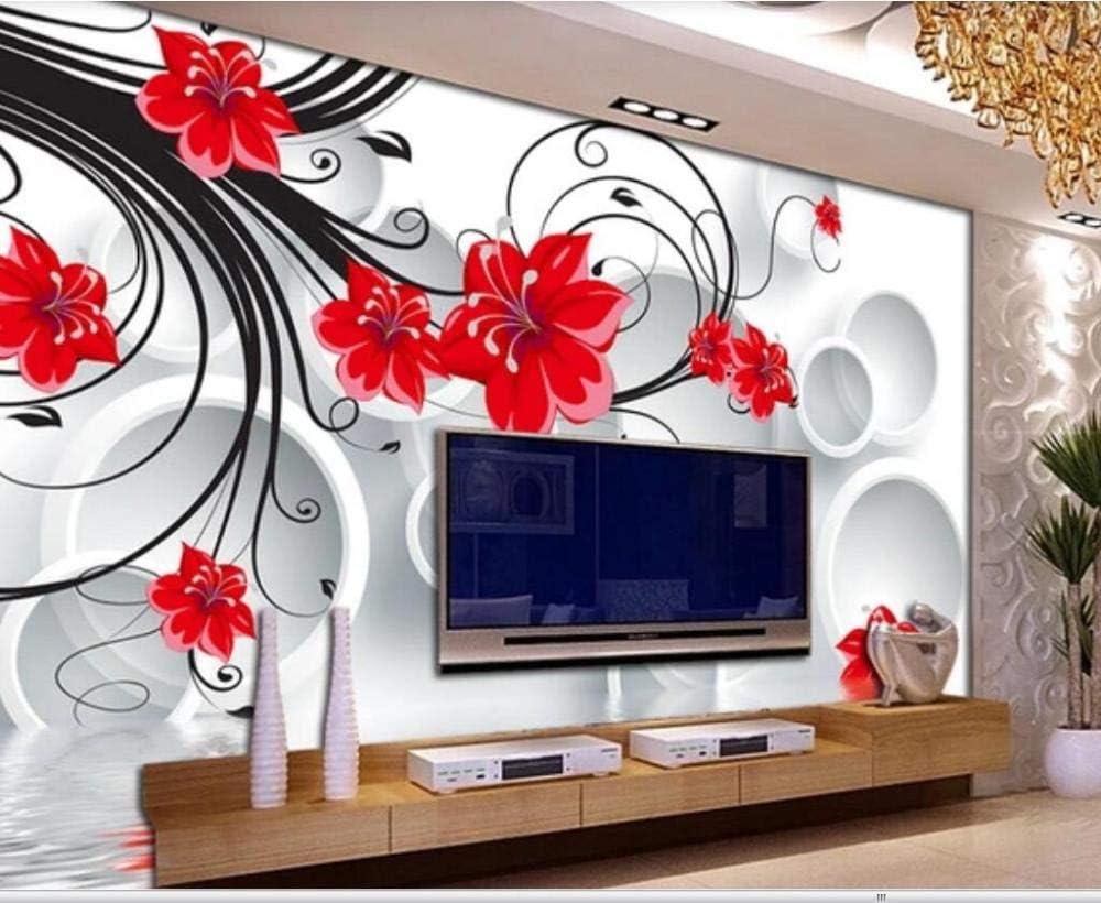 Wallpaper 3d Effect 300cmx210cm Red Flower Flower Vine Circle Space Modern Design Modern Murals Tv Sofa Living Room Bedroom Wall Decor Wallpaper Amazon Co Uk Diy Tools